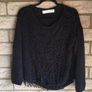 Zara Distressed Sweater in Black